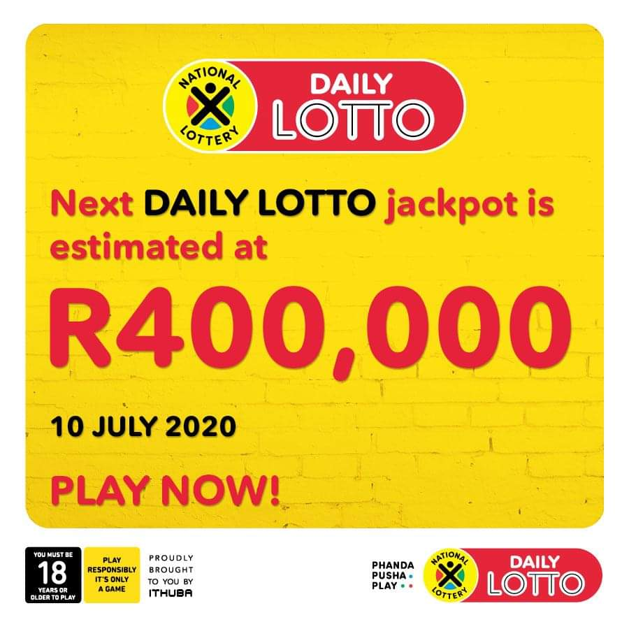Daily Lotto Results for Thursday, 9 July 2020